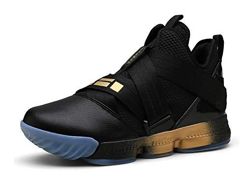 JIYE Basketball Shoes Fashion Special high Elastic Soft Sports Sneakers,Black Gold,44EU=10US-Men/11.5US-Women