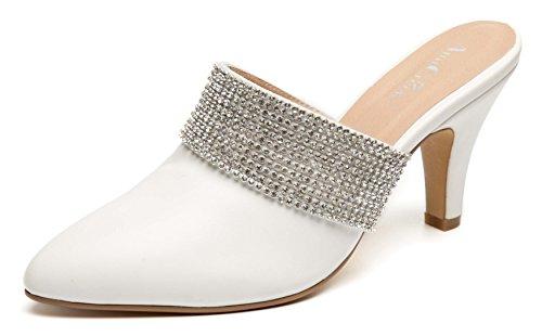 gram Faux Suede Rhinestone Slide Heels White 10 (White Suede Rhinestone)