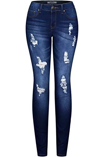 2LUV Women's Stretchy 5 Pocket Destroyed Medium Denim Skinny Jeans Denim Acid ()