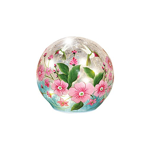 Crackle Glass Hummingbird Home Decoration Pink Floral Globe Ball Accent Table Lamp Light, ()