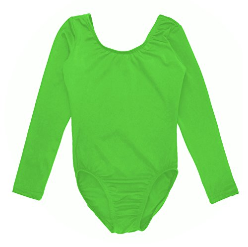 Sookie Active Basic Long Sleeve Leotard (LIME, Youth 4-6) -