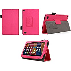 Case for All-New Fire 7 2017 - Premium Folio Case for All-New Fire 7 Tablet with Alexa 7th Generation - (Imprint Hot Pink)