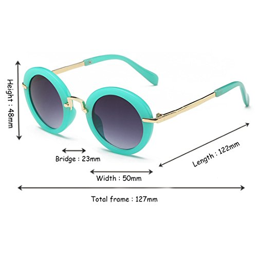 UV Fashion New Sun Glasses Eyes Protección Inlefen Sun Verde Sunglasses Frame Round Gelatina Children's nYdaXqEw
