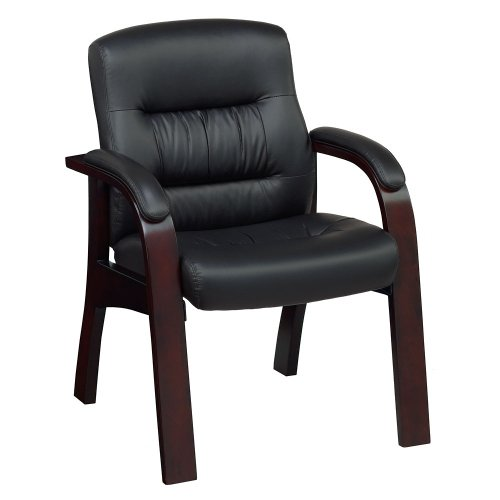 Black Faux Leather Guest Chair with Brunette Wood Finish, NBF Signature Series Vista Collection