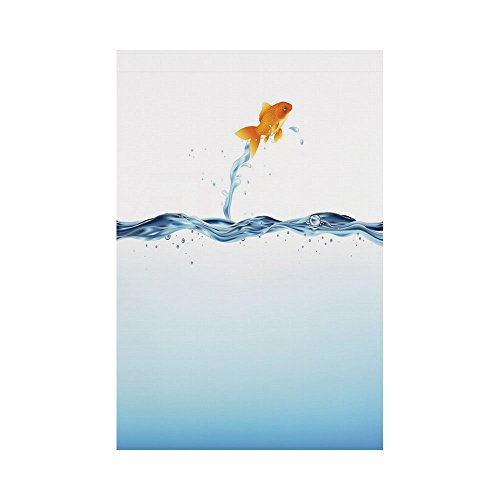 Polyester Garden Flag Outdoor Flag House Flag Banner,Aquarium,Little Goldfish Leaping Out Of Water Bravery Challenge Freedom Theme Decorative,Blue Light Blue Orange,for Wedding Anniversary Home Outdoo (Leaping Fish Water)