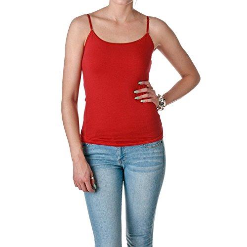 ACTIVE BASIC Womens Shelf Bra Adjustable Spaghetti Strap Tank, True Red, Medium