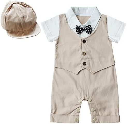 FEESHOW Baby Boys' Short Sleeve Gentleman Romper with Hat 2pcs Outfit Set