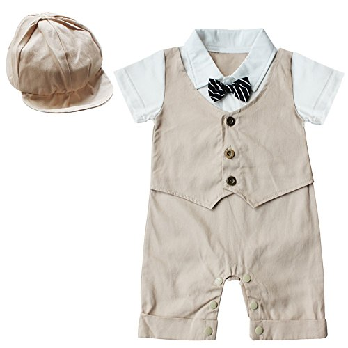 FEESHOW Baby Boys' Short Sleeve Gentleman Romper with Hat 2pcs Outfit Set Size 6-9 Months Khaki