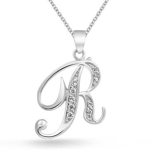 Abc Cubic Zirconia Pave CZ Cursive Script Letter Alphabet Initial R Pendant Necklace For Women Sterling Silver