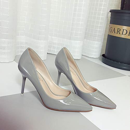 Yukun zapatos de tacón alto 8Cm Color Nude Acentuado Tacones Altos Hembra Otoño Estilete con La Boca Poco Profunda Negro Charol Zapatos De Trabajo, 39, Negro Gray