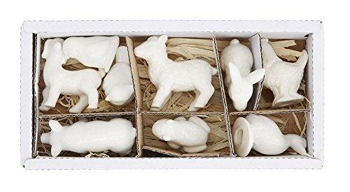 Creative Co-op Set of 9 White Barnyard Animal Figurines 30-General Décor - Figure/Object, (Porcelain Duck)