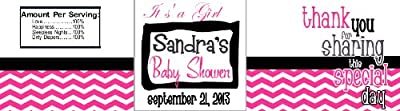 30 Personalized Water Bottle Labels Baby Shower Party Favors Pink Chevron from VOOCO