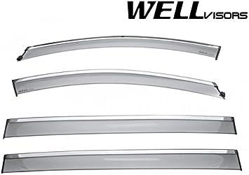 For 07-12 Mazda CX-7 WellVisors Side Window Deflector Visors With Chrome Trim