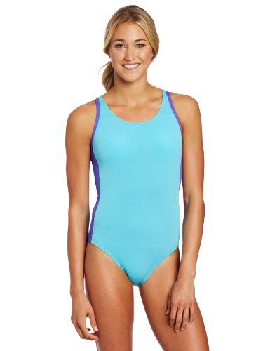 Speedo Women's Muscle Back Logo Endurance Lite Swimsuit, Scuba Blue, 9-10