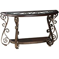 Standard Furniture Bombay Sofa Table with Glass, Brown
