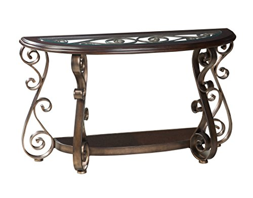 Cherry Oval Sofa Table - Standard Furniture Bombay Sofa Table with Glass, Brown