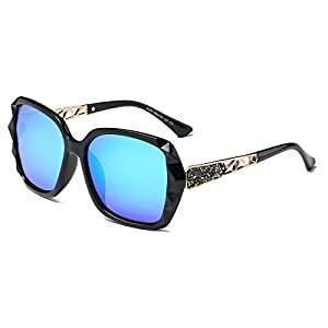 Amomoma Classic Women Polarized Sunglasses Oversized Mirrored UV400 Lens AM2008 Black/Mirrored Blue Lens