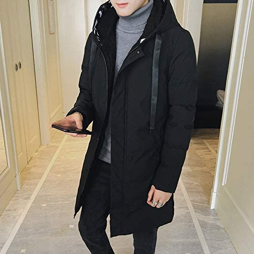 Buy and buy at Brandon Thick Casual Casual Winter Fashion Down Jacket Men\'s Long Coat Hooded Cotton Coat Black3XL  2pEBH