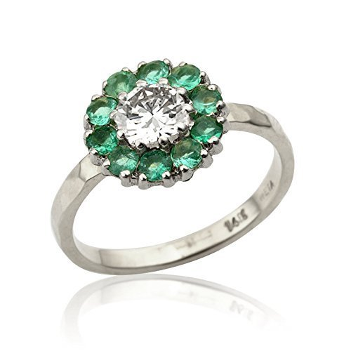 Handmade Flower 0.03 Ct Emerald and Natural 0.35 Ct VS2 Diamond Engagement Ring 14K White Gold Size 4.5 - 5.5 (Vs2 Natural)