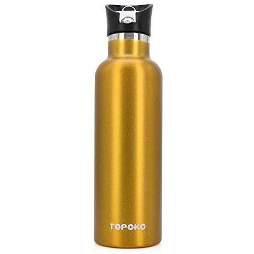 25 OZ Vacuum Insulated Stainless Steel Double Wall, Sweat Proof, Leak Proof Thermos Hot Cold Water Bottle/Wide or Small Mouth, Vacuum Seal Cap, Reusable Travel Mug. (gold straw lid) by TOPOKO