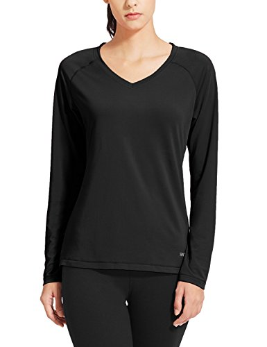 Baleaf Women's V-Neck Long Sleeve Mesh Running Shirts Black Size S