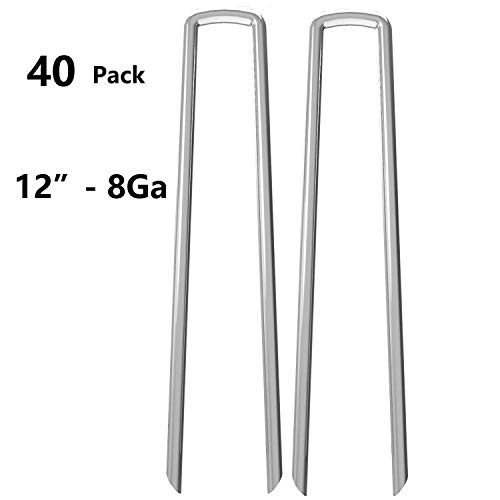 AAGUT Garden Staples 12 Galvanized Landscape Stakes Pins, 8Ga Heavy Duty Ground Tent Stakes, Rust Resistant Fence Anchors for Securing Ground Cover, Weed, Fabric OeFenceAnchorW12_8Ga40