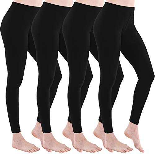 2dbc77018657 SAYCELI Women's Premium Soft Leggings Full Length Elastic Regular Waist  Opaque Slim Pants (Plus Size (L/XL), 4Black)