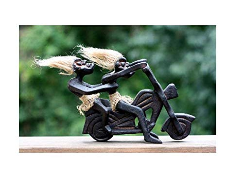 de Wooden Primitive Tribal Funny Riding Harley Davidson Statue Motorcycle Sculpture Tiki Bar Handcrafted Unique Gift Wood Decorative Home Decor Figurine Art Decoration Hand Carved ()