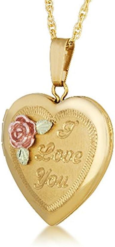Black Hills Gold Heart Pendant Charm Engraved Rose Green Yellow Leaves Teen Gift