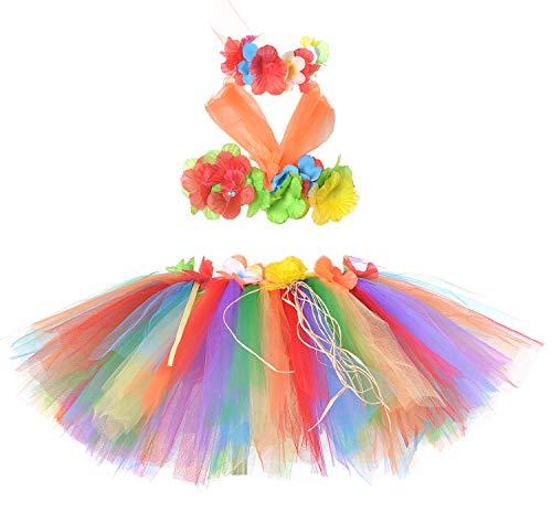 - Tutu Dreams Hawaiian Skirt for Girls Kids Hula Dancer Costume Beach Bonfire Party Vacation Holiday (Rainbow-1)