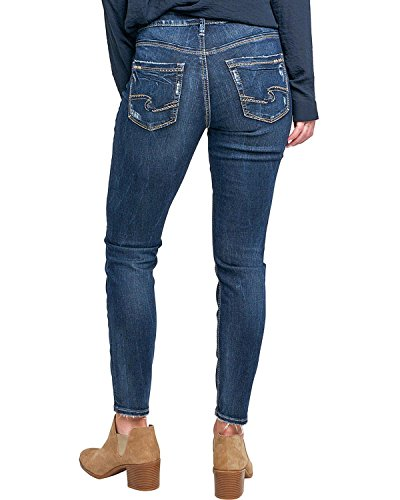 Silver Jeans Co. Women's Avery Curvy Fit High Rise Ankle Skinny, Dark Vintage Wash, 28 Silver Jeans Juniors Jeans
