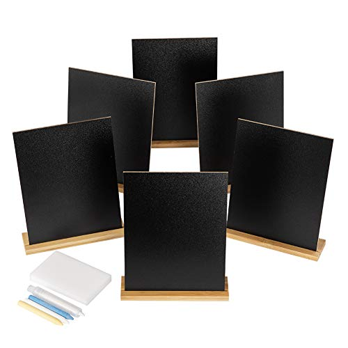 6 Pack Mini Chalkboards Signs with Style Wood Base Stands, S