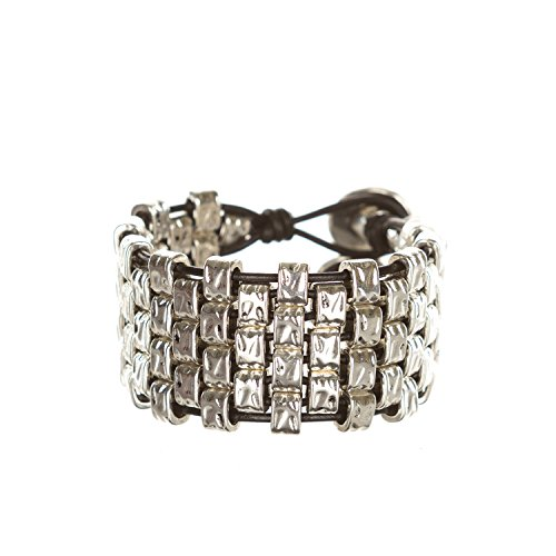 Handmade Hammered Flattened Square Beads Woven Bracelet Silver/Black Size 7 BRA-13 Silver Plated