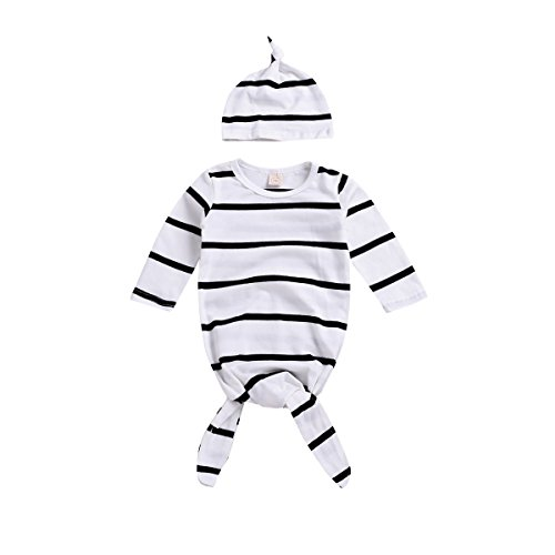Newborn Boy Girl Coming Home Outfit Striped Sleep Sacks Gowns Swaddle +Cap ()