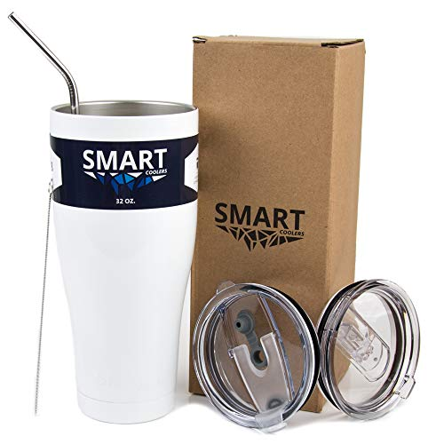 32 Oz Cooler - Tumbler 32 oz White - Ultra-Tough Double Wall Stainless Steel Premium Insulated Cup - Ultimate Set - Leak-Proof + Sliding Lid + Straw + Brush + Gift Box White