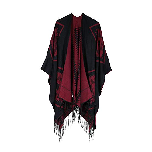 Faionny Women Scarf Winter Warm Sweater Coat Knitted Cashmere Poncho Capes Print Shawl Cardigans Casual Outwear Knitwear