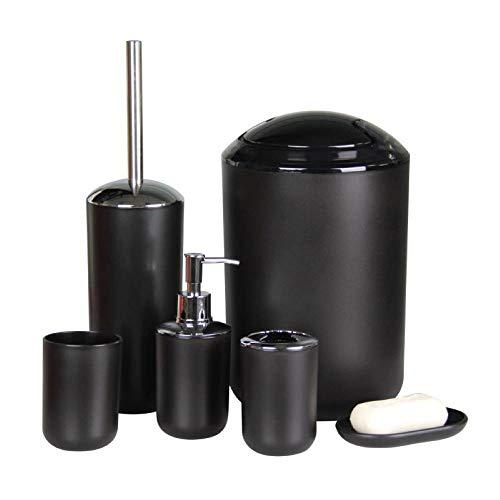 IMAVO Bathroom Accessories Set, 6-Piece Plastic Gift Set, Toothbrush Holder, Toothbrush Cup, soap Dispenser, soap Dish…