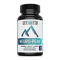 Suplemento de apoyo cerebral de Neuro Peak - Fórmula de memoria, enfoque y claridad - Nootropic Formulado científicamente para un rendimiento óptimo - DMAE, Rhodiola Rosea, Bacopa Monnieri, Ginkgo Biloba y más