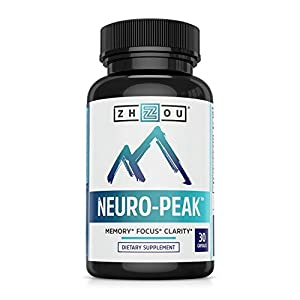 Neuro Peak Brain Support Supplement - Memory, Focus & Clarity Formula - Nootropic Scientifically Formulated for Optimal Performance - DMAE, Rhodiola Rosea, Bacopa Monnieri, Ginkgo Biloba & More