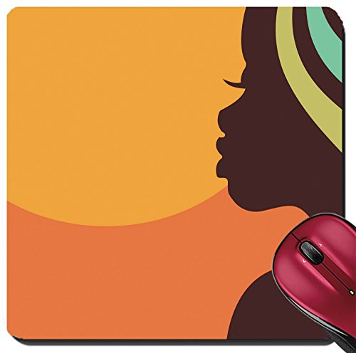 Liili Suqare Mousepad 8x8 Inch Mouse Pads/Mat African woman face profile Photo - Faces Photos Ladies