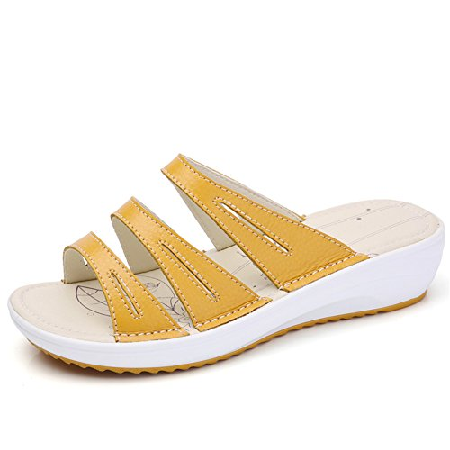 Mid Leather Slip Slide Women Heel Summer HKR Toe 858 On Open Yellow Sandals Platform Shoes nY8RnwUq