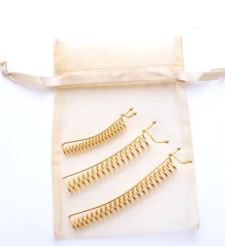 Set of 3 Gold SpyralClips - Made in China. The Better Barrette! An ingenious hair clip for securing hair comfortably.