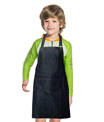 (Dadidyc Kids Aprons with Pockets Durable Denim Aprons for Kids Adjustable Artists Bib Aprons for Painting Chef Kitchen Cooking Baking Gardening Aprons Black)