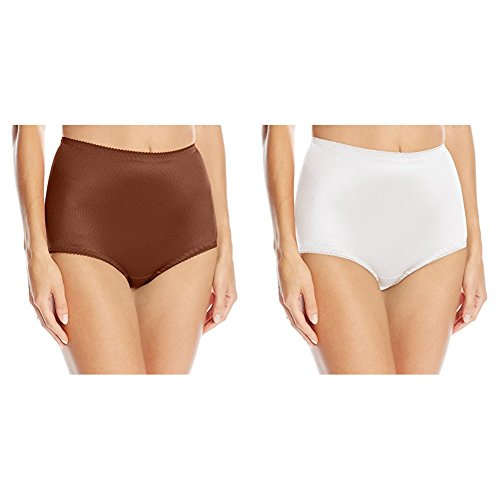 Vassarette Women's Undershapers Light Control Brief 40001, Chocolate Kiss/White Ice, Large/7