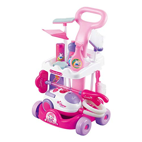 AZRtoys Kids Pretend Cleaning Set Housekeeping Accessories for Toddler Boys Girls - Included Cleaning Trolley, Real Working Vacuum Cleaner, Broom, Mop, Dustpan, Sponge, Brush Etc (A)