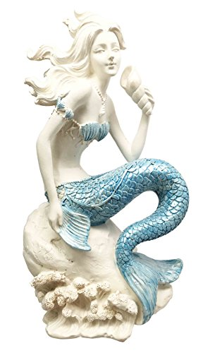 Ocean Goddess Pretty Mermaid With Blue Tail Holding Conch Figurine Coastal Marine Statue Home Decor