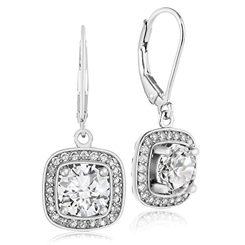 Lusoro 925 Sterling Silver Square AAA Cubic Zirconia Round Cut Halo Leverback Dangle Earrings