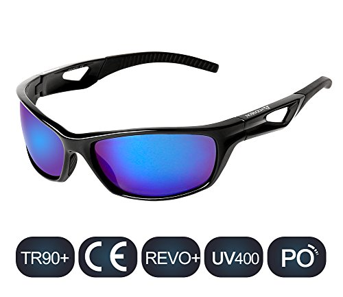 HODGSON Polarized Sports Sunglasses for Women Men Sport Fashion Glasses for Cycling (Black/Blue)