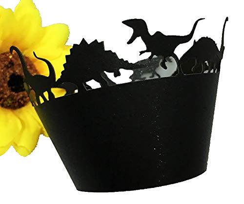 (black Dinosaur Laser cut Cupcake Wrapper Cup Cake Baking Muffin 60pcs)