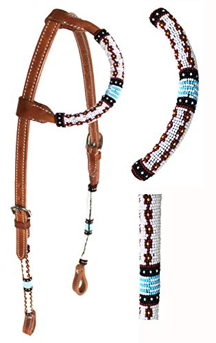PRORIDER Horse Show Bridle Western Leather Headstall Beaded One Ear 79RT05HA
